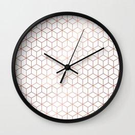 Gold Cubes Wall Clock