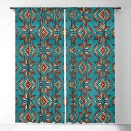 Modern colorful beaded boho aztec kilim pattern on teal Blackout Curtain
