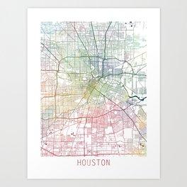 Houston Map Watercolor by Zouzounio Art Art Print