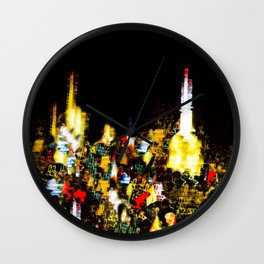Light Show - Buildings at Night in New York City Wall Clock