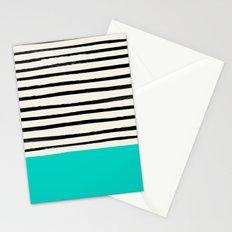 Aqua & Stripes Stationery Cards