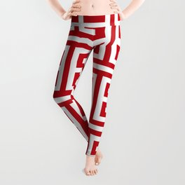 Pomegranate Red and White Greek Key Pattern Leggings