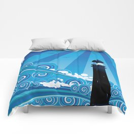 Blue stylized sea with big waves and lighthouse Comforters