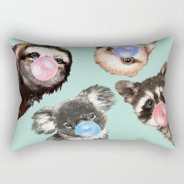 Cute Animals Bubble Gum Gang in Green Rectangular Pillow