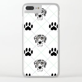 Merle Great Dane Paw Print Pattern Clear iPhone Case