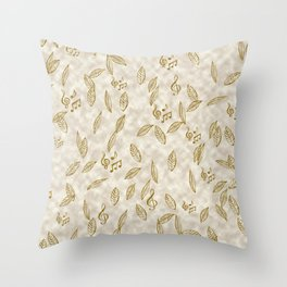 Abstract Gold Fall Foliage Symphony Throw Pillow
