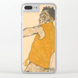 "Egon Schiele ""Self-Portrait in Yellow Vest"" Clear iPhone Case"