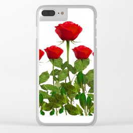 ORIGINAL GARDEN DESIGN OF RED ROSES ON WHITE Clear iPhone Case
