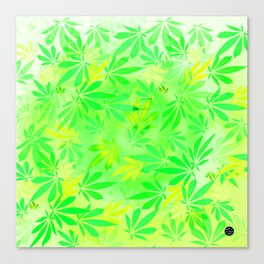 Lemon & Lime Cannabis Swirl Canvas Print