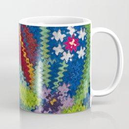 Starry Floral Felted Wool, Blue Coffee Mug