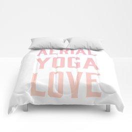 aerial yoga love // pink & orange Comforters