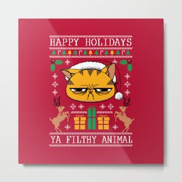 Ugly Holiday Sweater Cat Metal Print