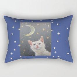 White cat at night Rectangular Pillow