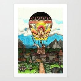 Bunny and mole take a ballon-ride Art Print