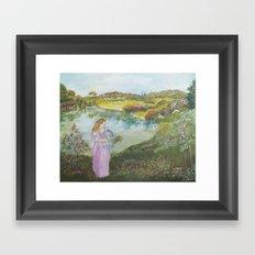 Girl Setting a Bird Free Framed Art Print