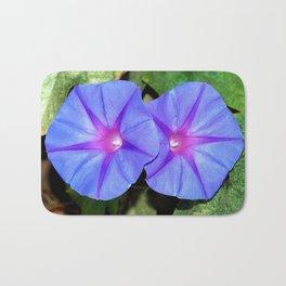 Vivid Blue, Purple and Pink Ipomoea Flowers Bath Mat