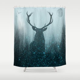 Snow Stag Silhouette Shower Curtain