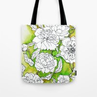 peonies Tote Bags featuring Peonies by Dheiuk