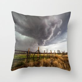 Western Life - Barbed Wire and Storm on the Ranch Throw Pillow