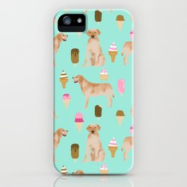 yellow lab ice cream cute funny dog breed pet pattern labrador retriever iPhone Case