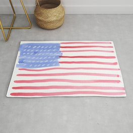 American Flag 4th of July watercolor design Rug