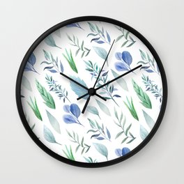 Pastel blue lavender green watercolor hand painted leaves Wall Clock