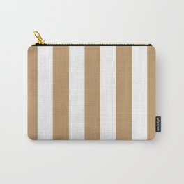 Wood brown - solid color - white vertical lines pattern Carry-All Pouch
