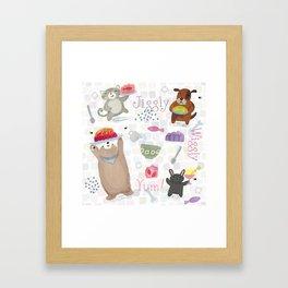 Bunny Dog Bear Cat Jello Treats Framed Art Print