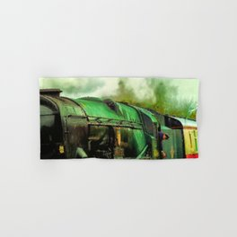 Green Steam Train Hand & Bath Towel