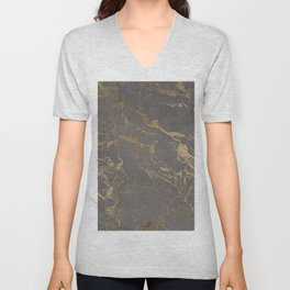 Modern Grey cement concrete gold marble pattern Unisex V-Neck
