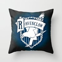 ravenclaw Throw Pillows featuring White Ravenclaw Crest by Sharayah Mitchell