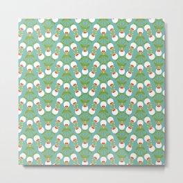 feel good waves flowers mint - Retro Lifestyle pattern Metal Print