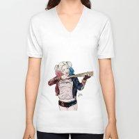 harley quinn V-neck T-shirts featuring Harley Quinn by jorgeink