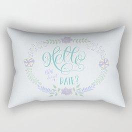 Hello: How about a date? Blue romance Rectangular Pillow
