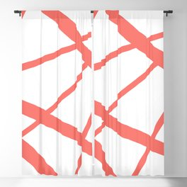 Living Coral Open Star Geometric Abstract on White Blackout Curtain