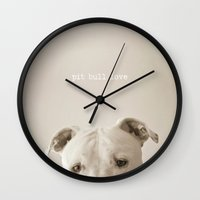 pit bull Wall Clocks featuring Pit bull love  by Laura Ruth