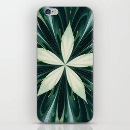 White Leaves In A Green Forest Kaleidoscope iPhone Skin