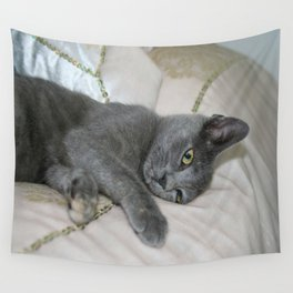 Grey Kitten Relaxed On A Bed  Wall Tapestry