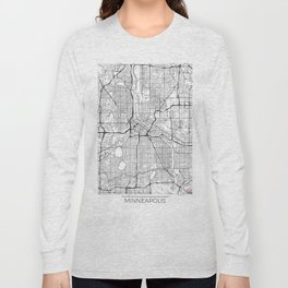 Minneapolis Map White Long Sleeve T-shirt