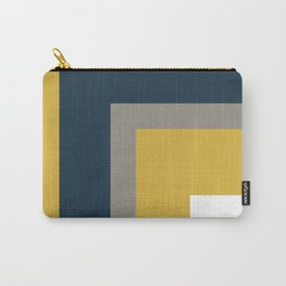 Half Frame Minimalist Pattern in Deep Mustard Yellow, Navy Blue, Gray, and White Carry-All Pouch
