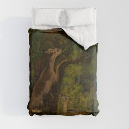 """Gustave Courbet """"Deer in the Forest"""" Comforters"""