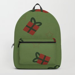 Gifts and stars - green and red Backpack
