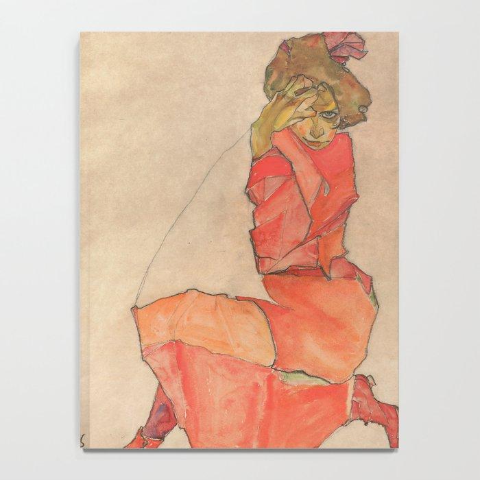 Egon Schiele - Kneeling Female in Orange-Red Dress Notebook