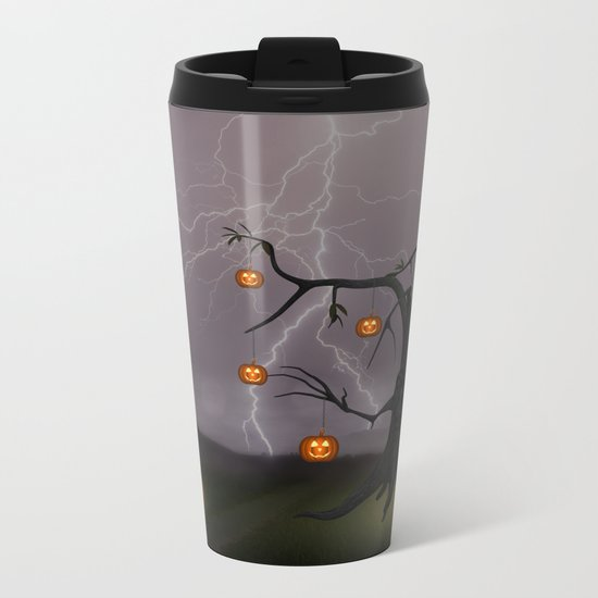 SCARY HALLOWEEN TREE Metal Travel Mug