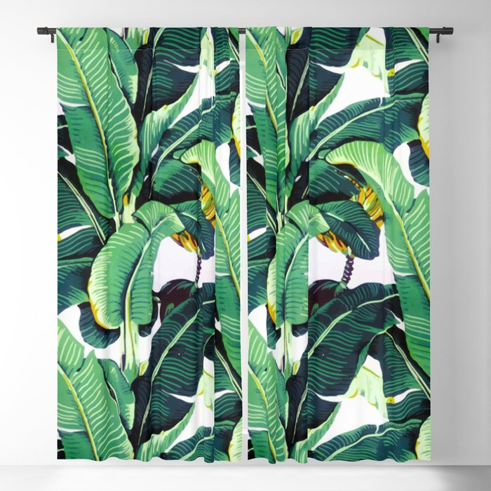 Tropical Banana leaves pattern Blackout Curtain