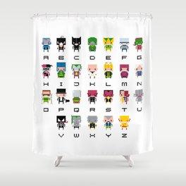 Pixel Supervillain Alphabet 2 Shower Curtain
