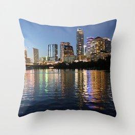 Austin, Texas skyline - city lights Throw Pillow
