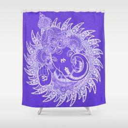Ganesha Lineart Lilac White Shower Curtain