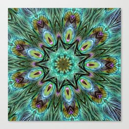 Colorful Peacock Feather Kaleidoscope Canvas Print
