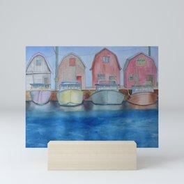 Whimsical Houses and Boats Mini Art Print